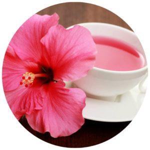 #Acessibilidade Foto de uma Flor de Hibisco ao lado de uma xícara de chá de Hibisco