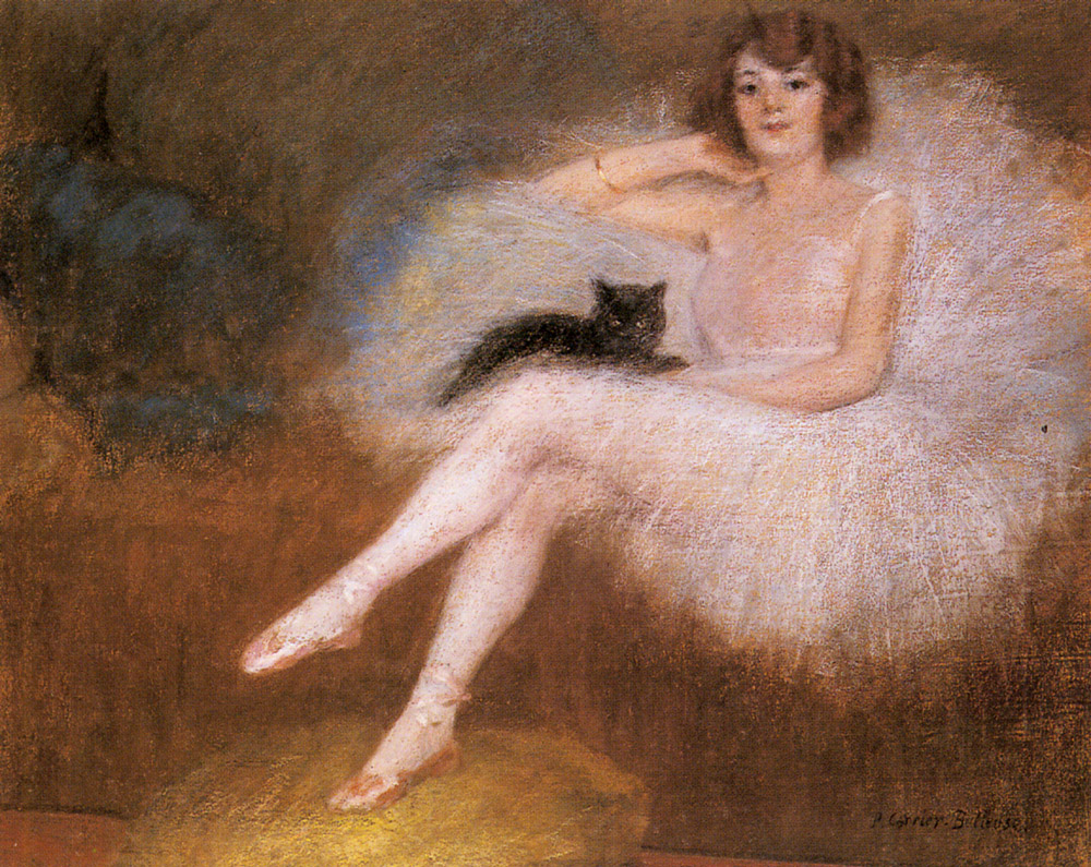 #Acessibilidade Detalhe de pintura que retrata uma bailarina sentada com um gato preto em seu colo