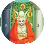 #Acessibilidade Carta de Tarot da sacerdotisa, representada através de uma gata branca. Ateliê Quartzo - Tarot, Terapias Holísticas e Reiki em Porto Alegre.