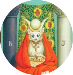 #Acessibilidade Carta da Sacerdotisa representada por uma gata branca. Ateliê Quartzo - Tarot, Terapias Holísticas e Reiki em Porto Alegre.