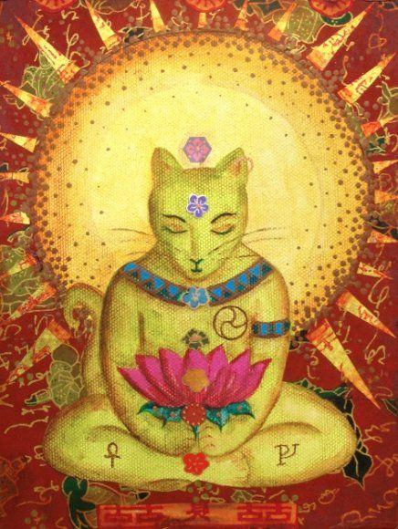 Pintura de um gato amarelo, sentado em flor de Lótus, meditando
