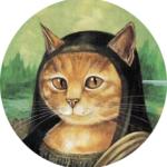 #Acessibilidade Pintura de um gato como se fosse a Mona Lisa. Aulas de Meditação e Cursos de Tarot. Ateliê Quartzo - Tarot, Terapias e Reiki em Porto Alegre.