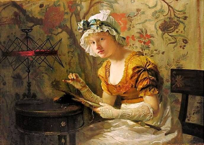 Pintura antiga com uma senhora bordando