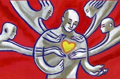 Imagem de uma pessoa, com o coração amarelo brilhante, sendo tocada por outras