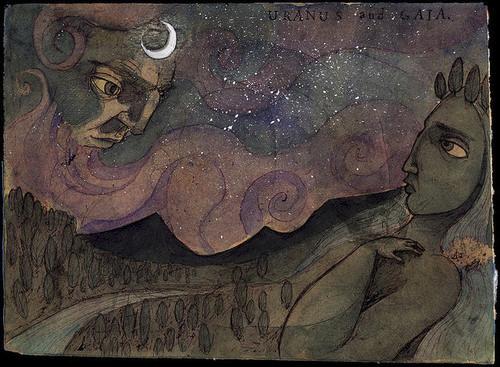 Imagem de Gaia com Urano deitando-se sobre ela