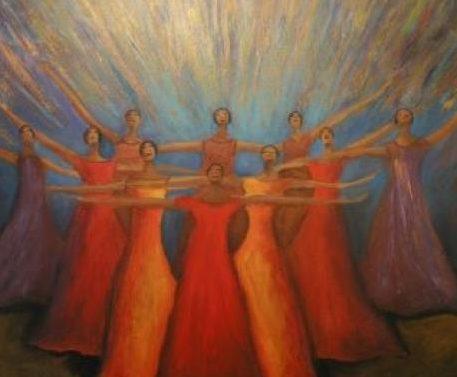 Pintura de mulheres de braços erguidos em meio a vários feixes coloridos de luz