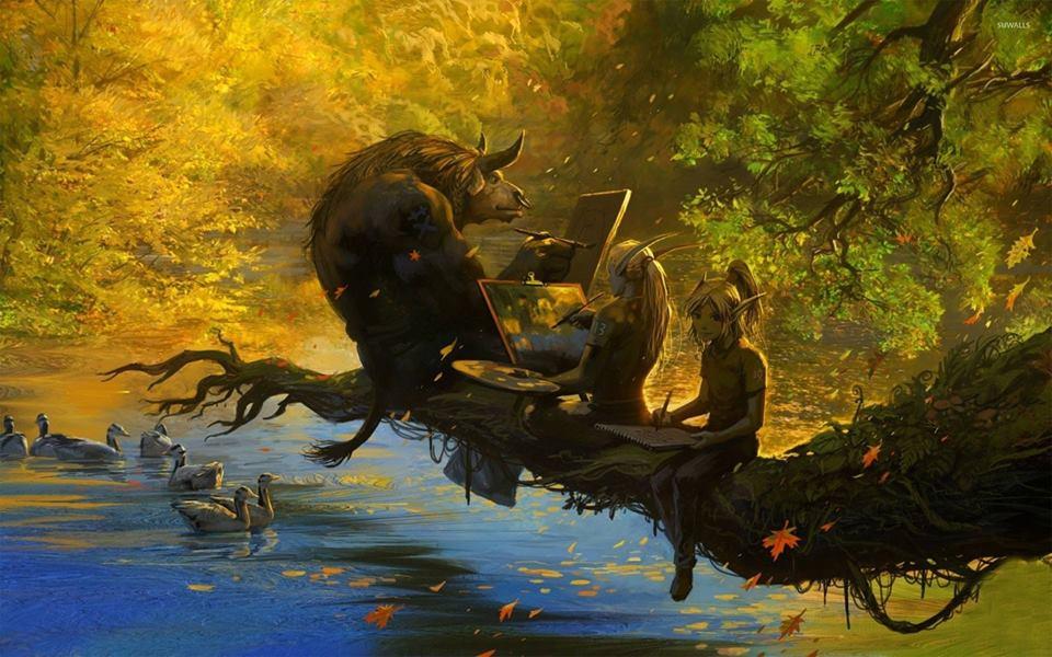 Imagem de um minotauro e duas fadas-elfos em um tronco de árvore, lendo um livro