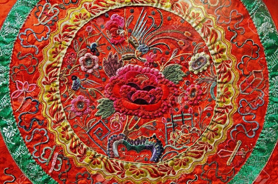 Foto de um bordado chinês tradicional