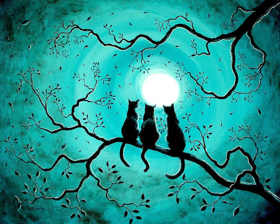 Pintura de gatinhos olhando o luar