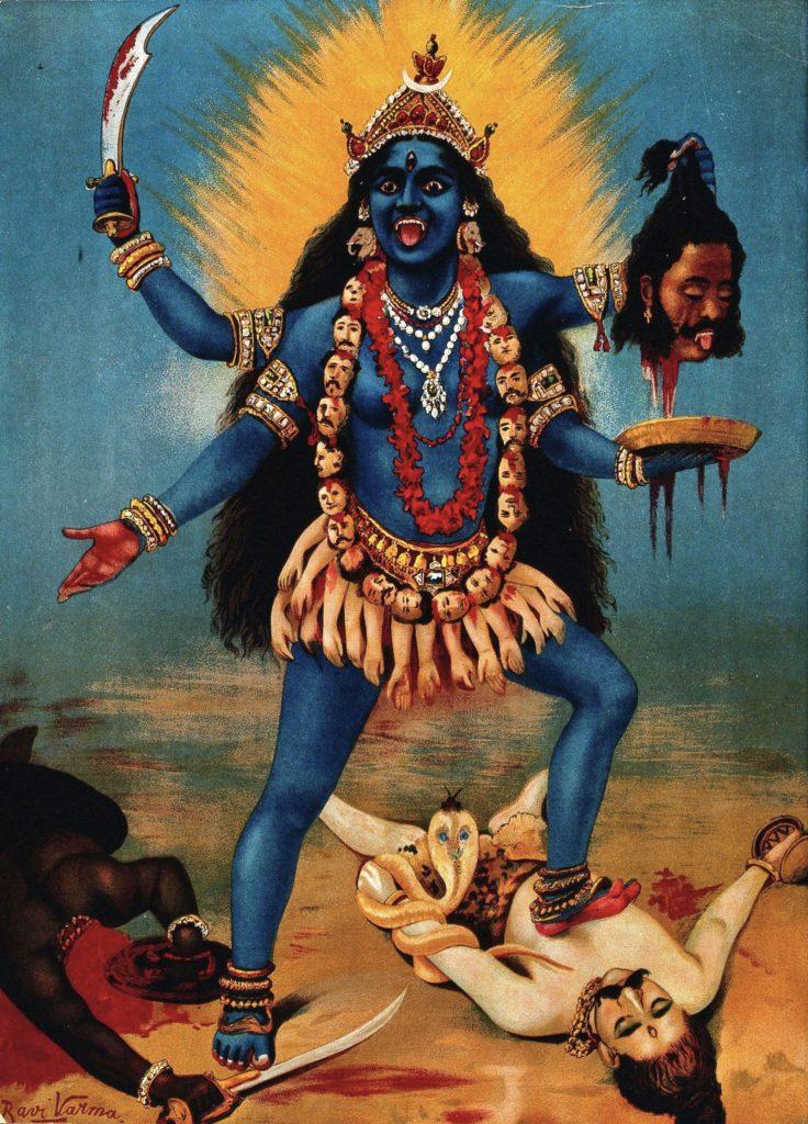 Deusa Hindu Kali fazendo sua dança sobre o corpo inerte de Shiva