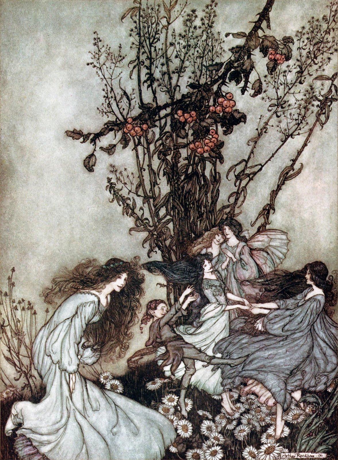 Pintura de Fadas dançando no em volta de uma árvore frutífera