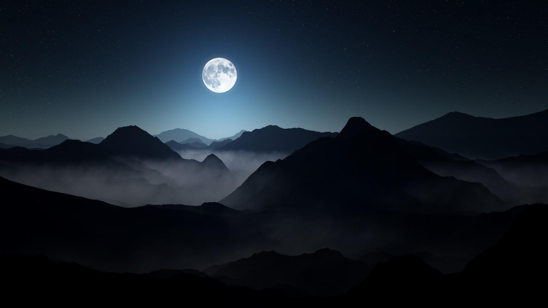 Lua Cheia acima das Montanhas