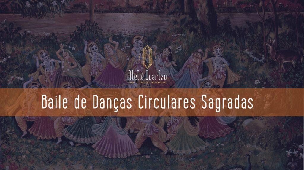 """Imagem de um baile de Krishna e Gopis com os dizeres """"Baile de Danças Circulares Sagradas"""""""