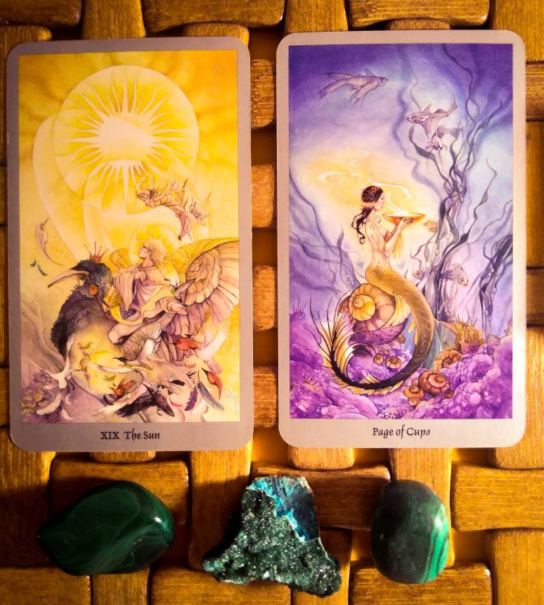 Cartas do Sol e Pagem de Copas do Shadowscape Tarot